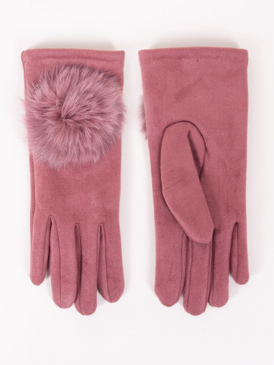 Rękawiczki damskie różowe zamszowe z pomponem