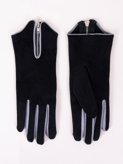 Rękawiczki damskie czarne zamszowe z suwakiem dotykowe