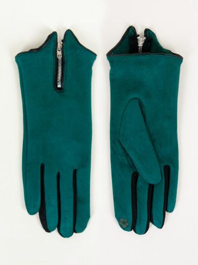 Rękawiczki damskie zielone zamszowe z suwakiem dotykowe
