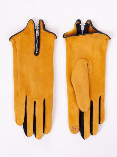 Rękawiczki damskie musztardowe zamszowe z suwakiem dotykowe