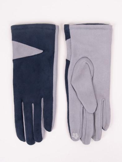 Rękawiczki damskie granatowe zamszowe dwukolorowe dotykowe