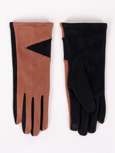 Rękawiczki damskie brązowe zamszowe dwukolorowe dotykowe