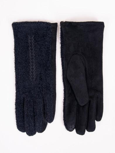 Rękawiczki damskie czarne z haftem w jodełkę dotykowe