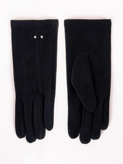 Rękawiczki damskie czarne z przeszyciem i jetami