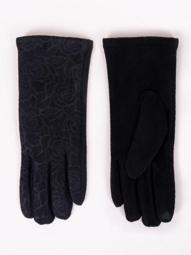 Rękawiczki damskie czarne zamszowe z różami dotykowe