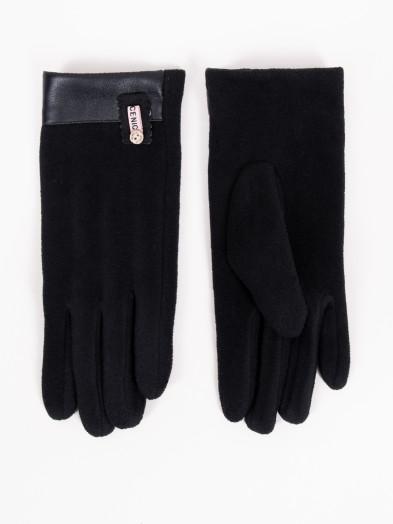 Rękawiczki damskie czarne ze skórkowym mankietem