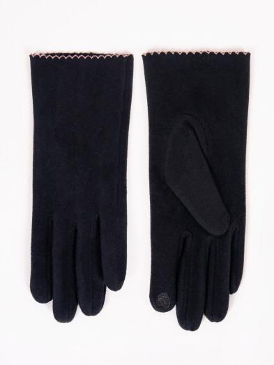 Rękawiczki damskie czarne z ozdobnym obszyciem dotykowe
