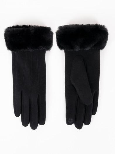 Rękawiczki damskie czarne z futrzanym mankietem dotykowe