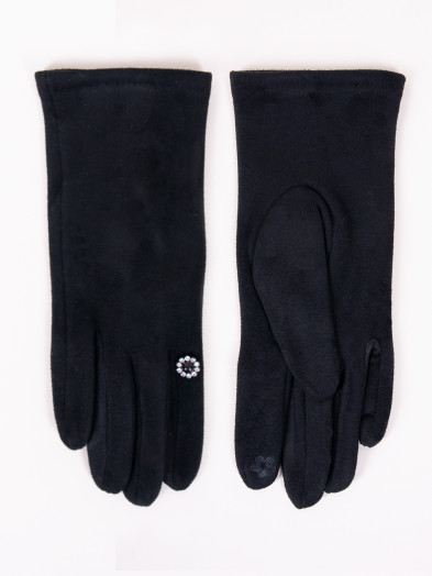 Rękawiczki damskie czarne z kwiatkiem dotykowe
