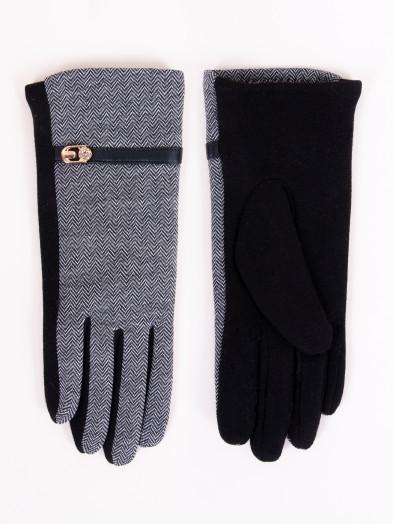 Rękawiczki damskie czarne z paskiem i klamerką
