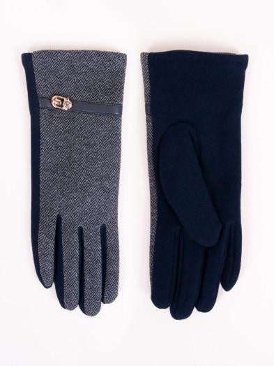 Rękawiczki damskie granatowe z paskiem i klamerką