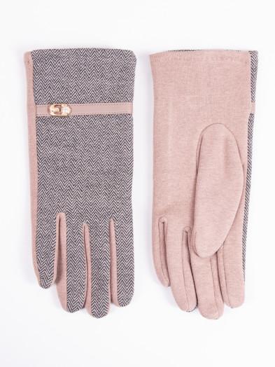 Rękawiczki damskie brązowe z paskiem i klamerką