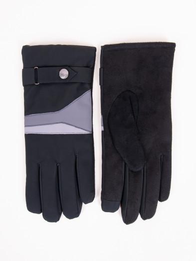 Rękawiczki męskie czarne z paskiem ocieplane dotykowe