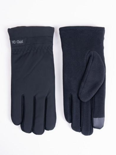 Rękawiczki męskie czarne z napisem ocieplane dotykowe