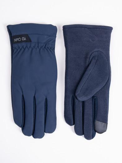 Rękawiczki męskie granatowe z napisem ocieplane dotykowe