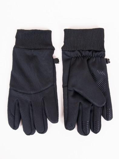 Rękawiczki męskie czarne ze ściągaczem i ABS dotykowe