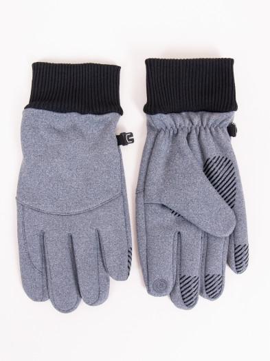 Rękawiczki męskie szare ze ściągaczem i ABS dotykowe