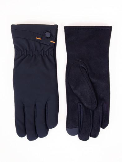 Rękawiczki męskie czarne materiałowo-zamszowe dotykowe