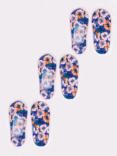 Stopki niskie damskie laserowe Kwiaty 3PAK
