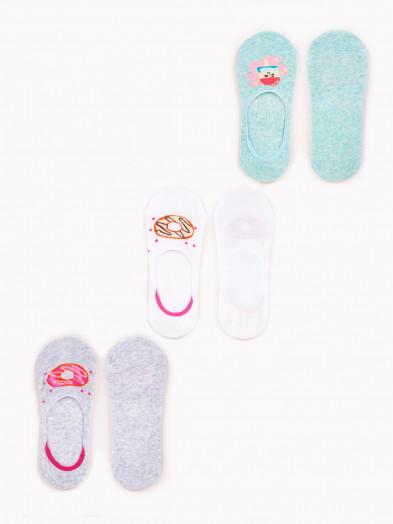 Stopki niskie damskie bawełniane pastelowe ze wzorem 3PAK