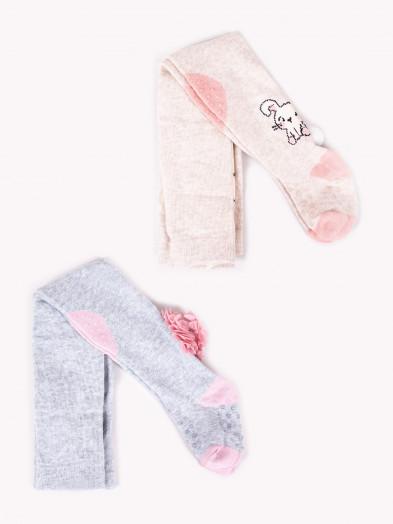 Rajstopy bawełniane dziewczęce do raczkowania szaro-beżowe 2PAK