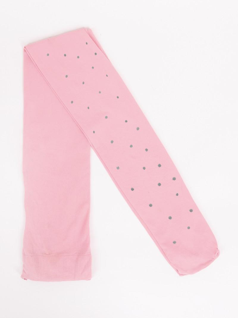 Rajstopy dziecięce mikrofibra różowe brokatowe kropki 40 DEN
