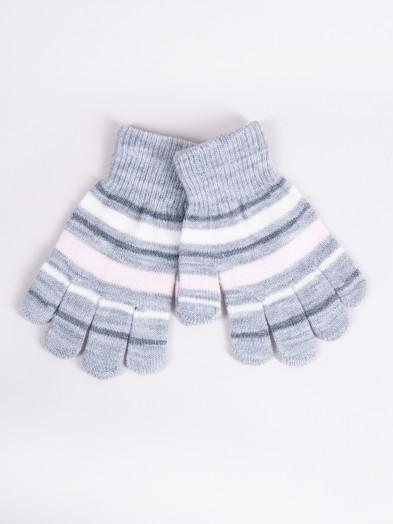Rękawiczki dziecięce pięciopalczaste jasnoszare w paski
