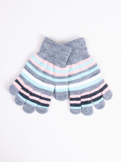Rękawiczki dziecięce pięciopalczaste ciemnoszare w paski
