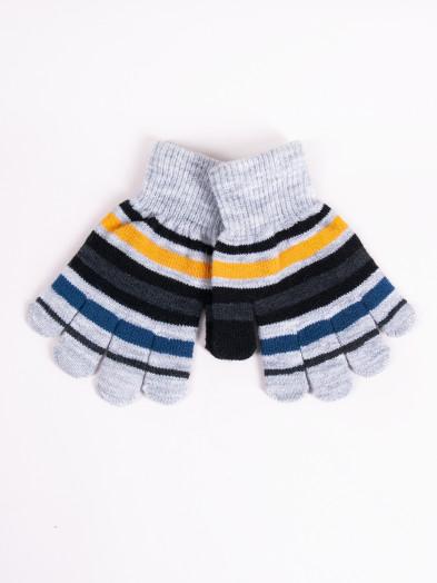 Rękawiczki dziecięce pięciopalczaste szare w paski
