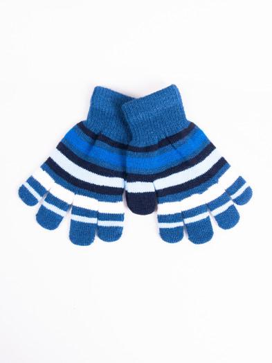 Rękawiczki dziecięce pięciopalczaste niebieskie w paski