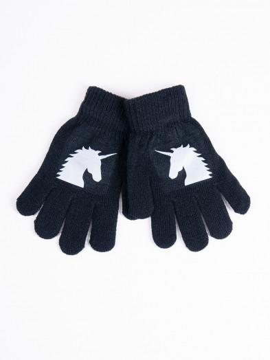 Rękawiczki dziecięce pięciopalczaste z odblaskiem czarne z jednorożcem