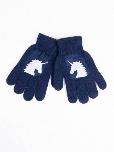 Rękawiczki dziecięce pięciopalczaste z odblaskiem granatowe z jednorożcem