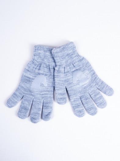 Rękawiczki dziecięce pięciopalczaste z odblaskiem szare z jednorożcem