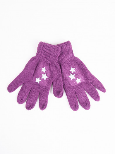 Rękawiczki dziecięce pięciopalczaste z odblaskiem fioletowe z gwiazdkami