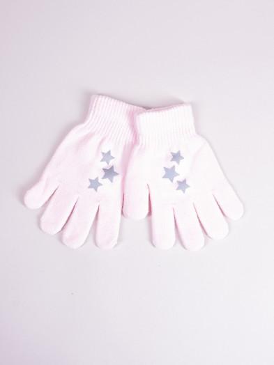 Rękawiczki dziecięce pięciopalczaste z odblaskiem różowe z gwiazdkami