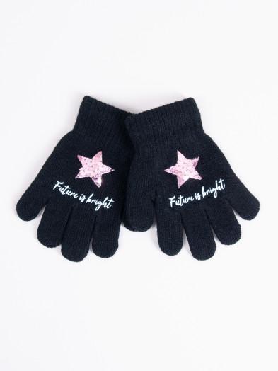 Rękawiczki dziecięce pięciopalczaste z cekinową gwiazdką czarne