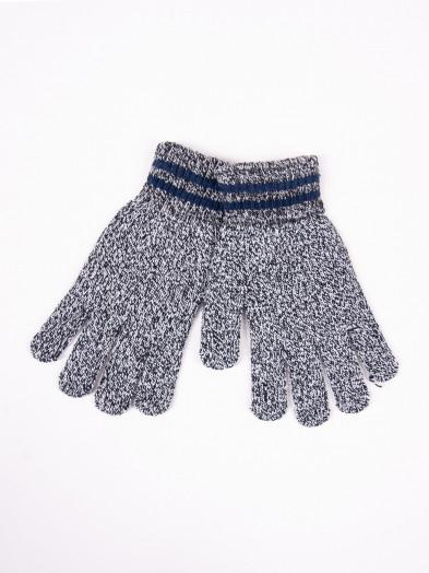 Rękawiczki męskie wełniane szary melanż z granatowymi paskami na mankiecie
