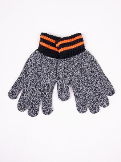 Rękawiczki męskie wełniane szary melanż z pomarańczowymi paskami na mankiecie