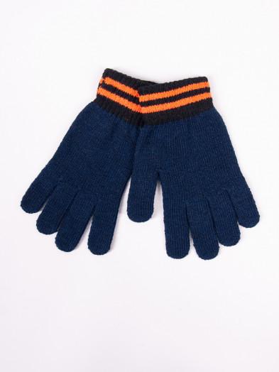 Rękawiczki męskie wełniane granatowe z pomarańczowymi paskami na mankiecie