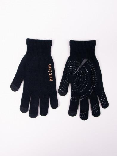 Rękawiczki męskie czarne z ABS dotykowe