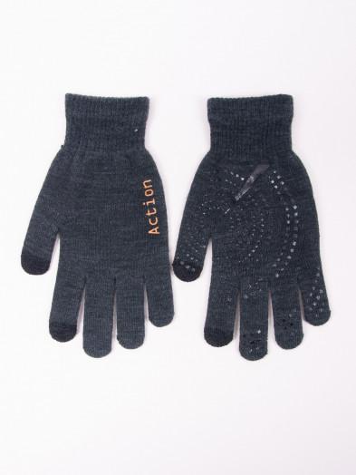 Rękawiczki męskie grafitowe z ABS dotykowe