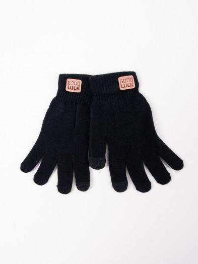Rękawiczki męskie czarne z naszywką dotykowe