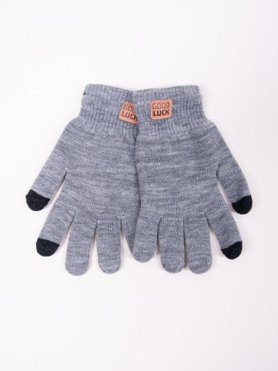 Rękawiczki męskie szare z naszywką dotykowe