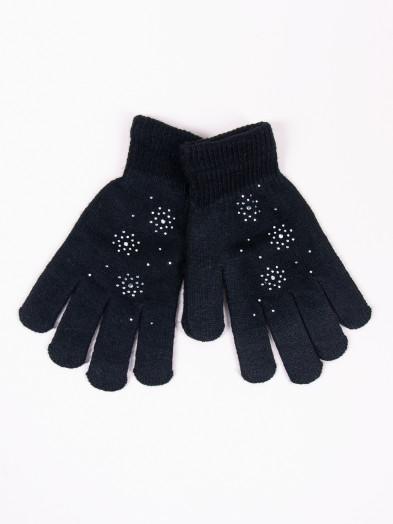 Rękawiczki damskie akrylowe z jetami czarne