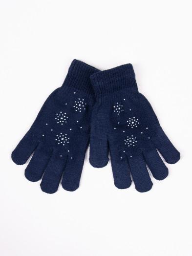 Rękawiczki damskie akrylowe z jetami granatowe