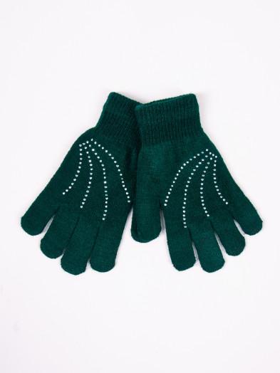 Rękawiczki damskie akrylowe z jetami zielone