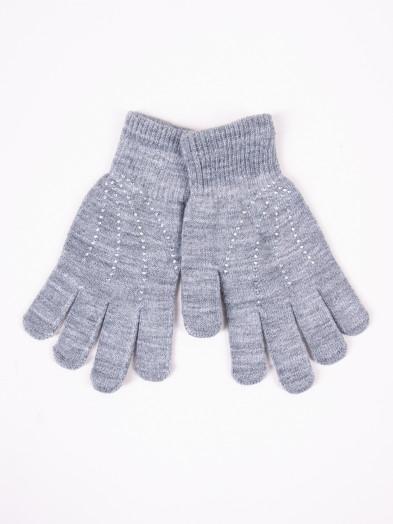 Rękawiczki damskie akrylowe z jetami jasnoszare