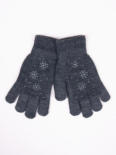 Rękawiczki damskie akrylowe z jetami ciemnoszare