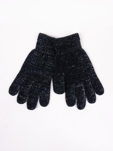 Rękawiczki damskie akrylowe ocieplane dotykowe czarne