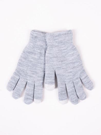 Rękawiczki damskie akrylowe ocieplane dotykowe szare